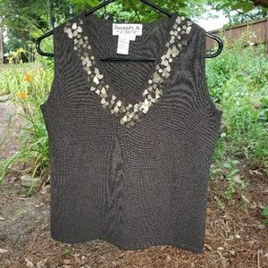Joseph Tops - Joseph A. Sleeveless knit top w/ metal embellish